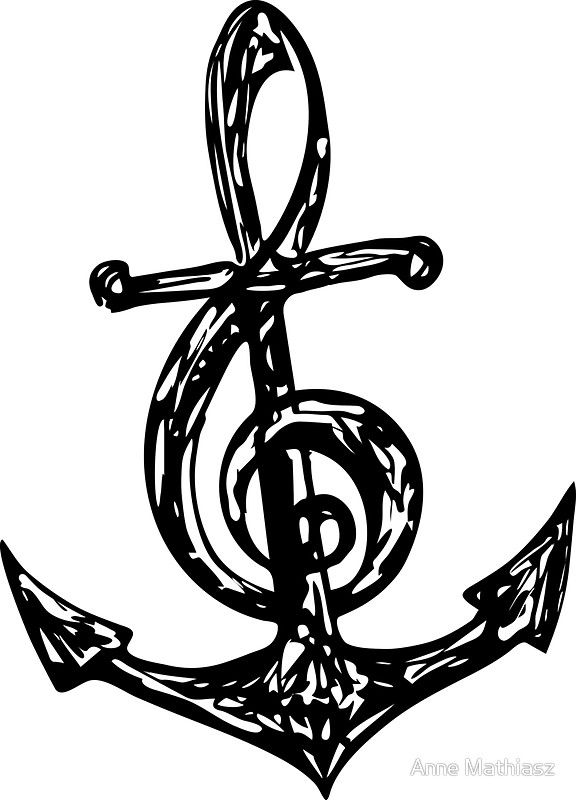 Treble Clef Anchor Music Festival Summer Beach Party Sticker By