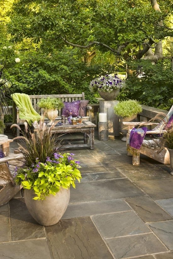Garden Patio With Gorgeous Limestone Tile