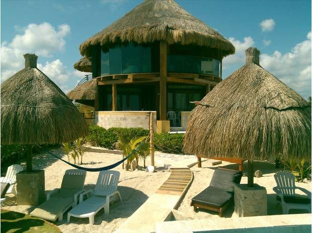 casa con techo de paja en la playa yucatan | Preciosa ...