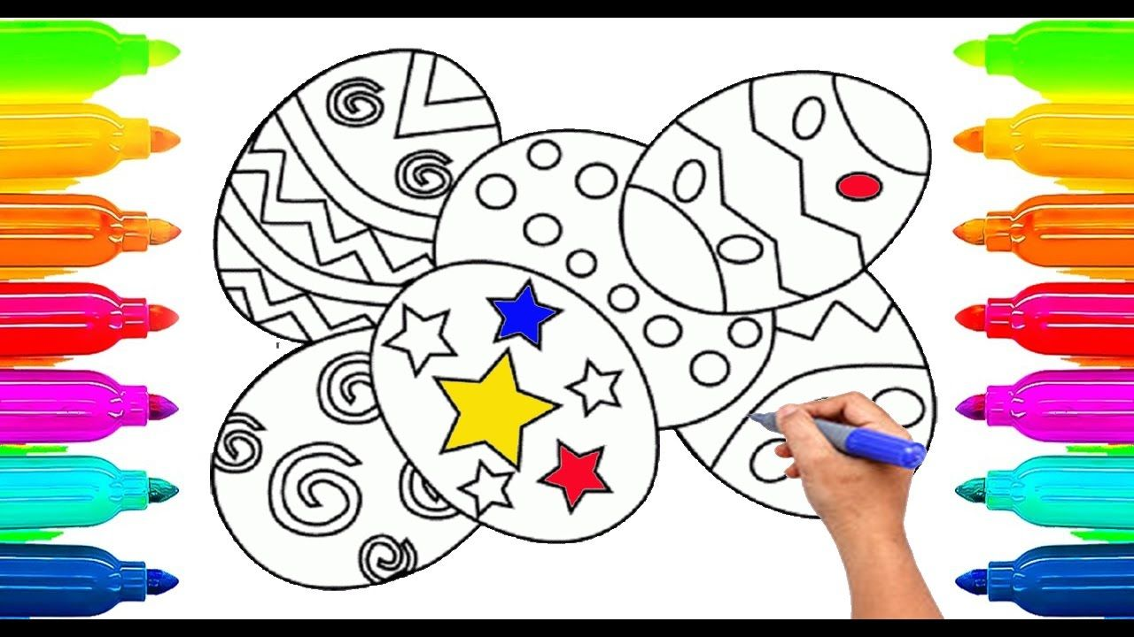 How To Draw Easter Surprise Eggs Coloring Book For Kids Learning