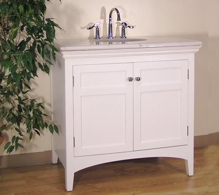 Whyte (single) 38-Inch Marble Top White Bathroom Vanity Stuff