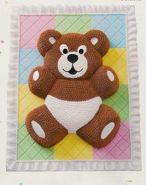cake pan teddy bear flat pan sheet cake jpg 292 369 lets
