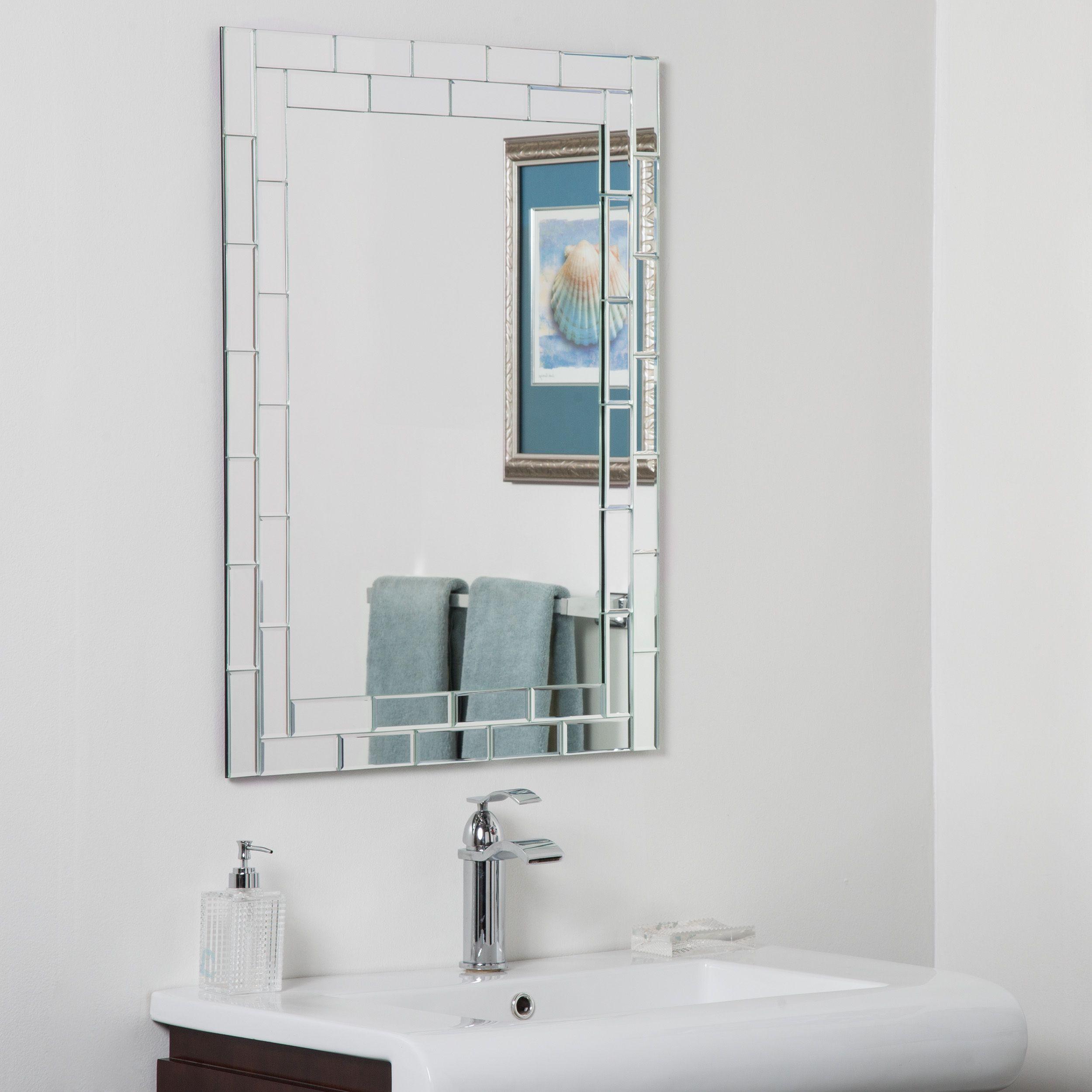 Decor Wonderland Grand Street Beveled Glass Frameless Bathroom Classy Bathroom Wall Mirrors 2018