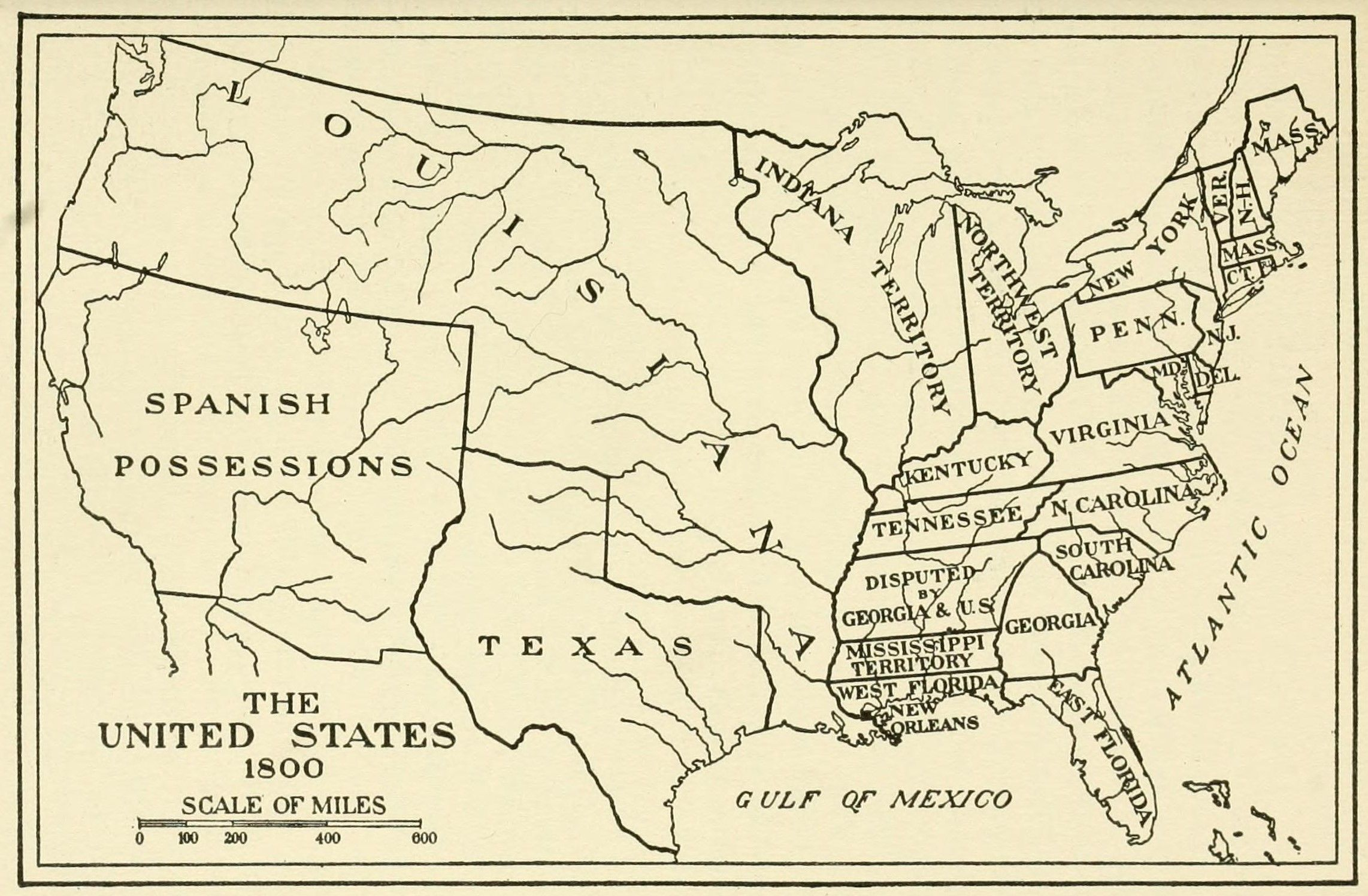 united states 1800 map Map of the United States in 1800   United states map, The unit