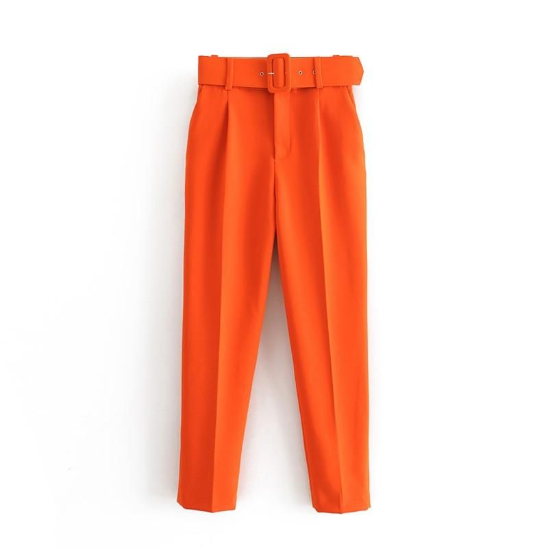 Photo of Aonibeier Elegant Career Pant Office Lady High Waist Straight Pants Belt Casual Ankle Length Women Trousers Suit Sashes Pockets – Orange Red / L