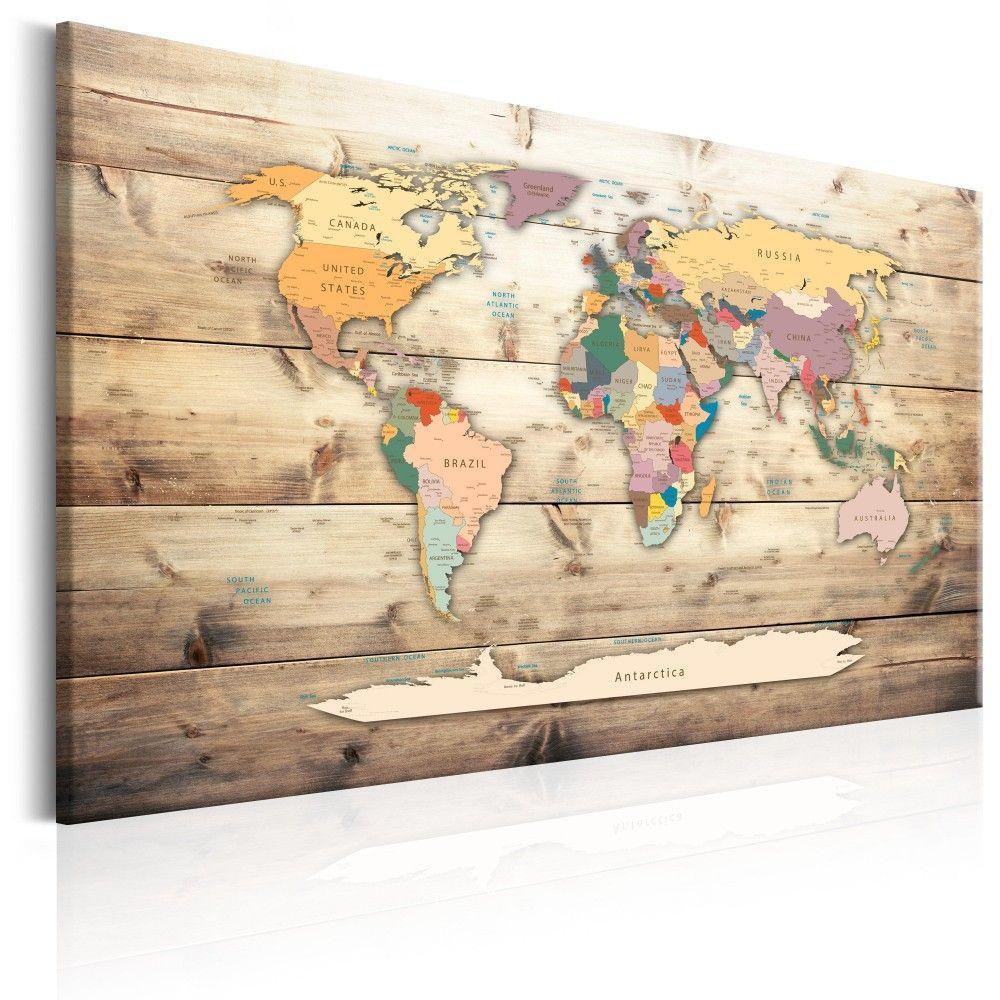 Easy Tiger World Map.  Cuadro decorativo World Map Colourful Continents
