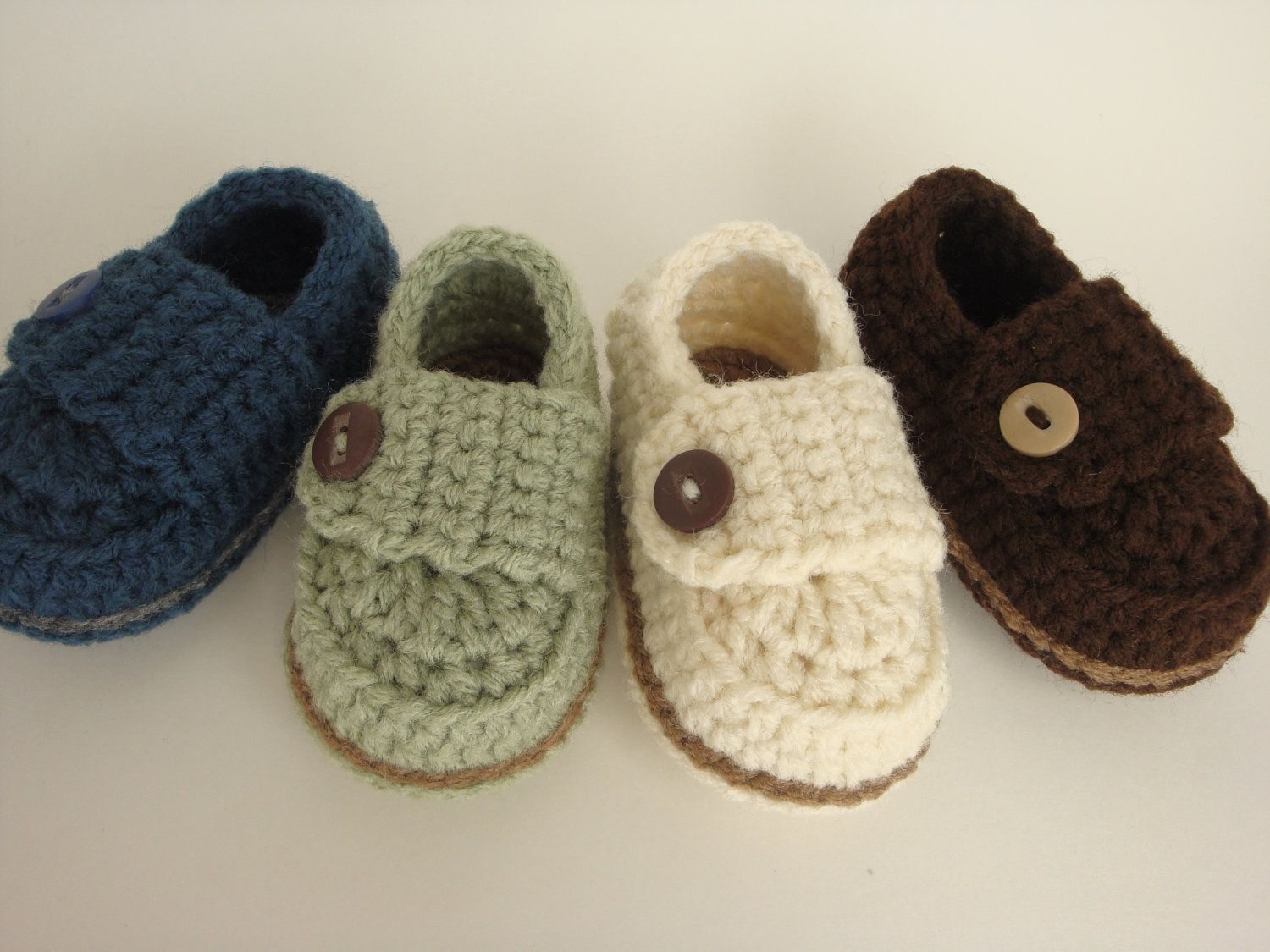 Crochet Baby Boy Button Loafers - Made to Order Booties | Diy häkeln ...