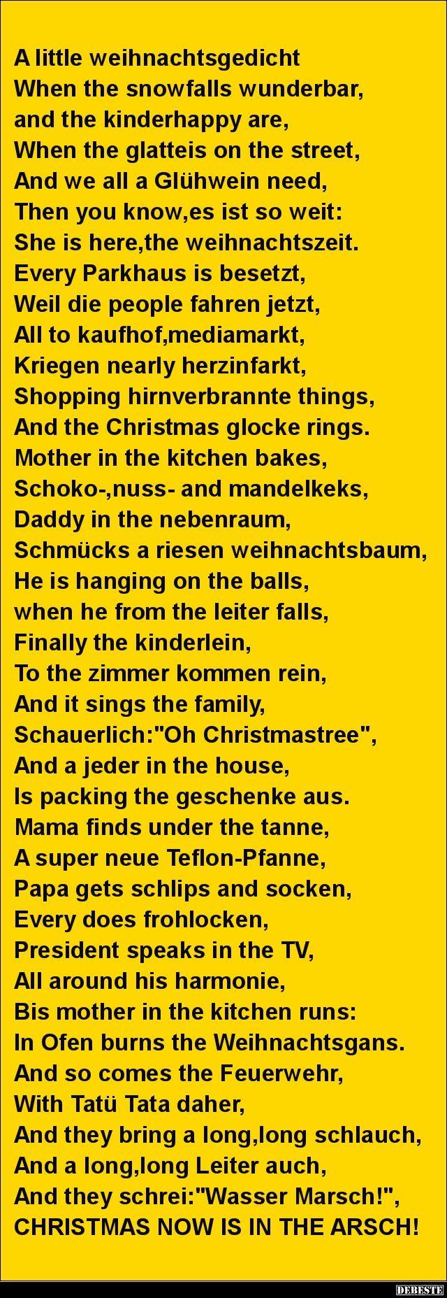 A little weihnachtsgedicht.. | Lustige Bilder, Sprüche, Witze, echt lustig #nikolausspruchlustig