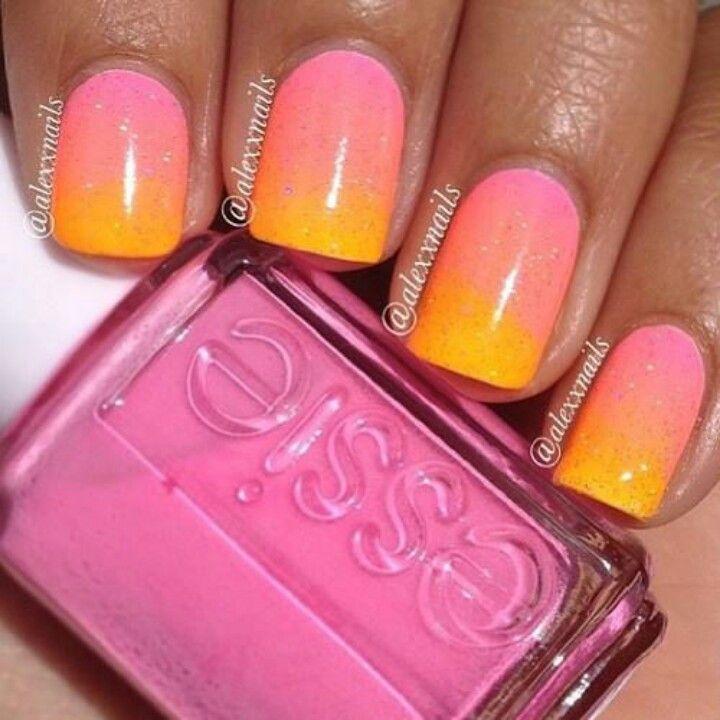 Pink Yellow And Orange Gradient Nail Art. #nails