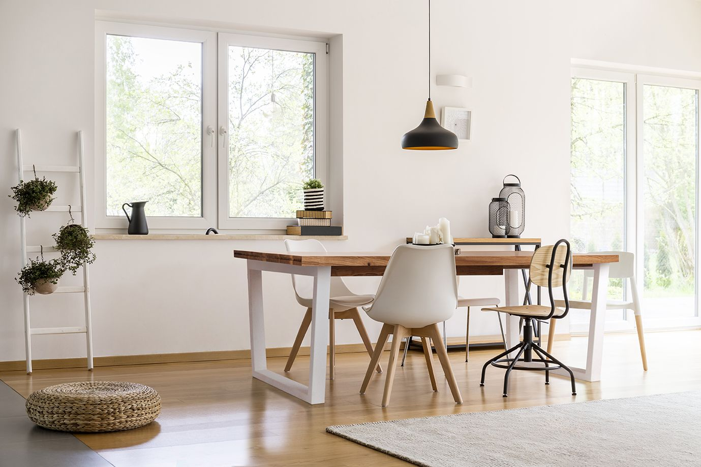 Modern foldout table with oak wood top and white legs