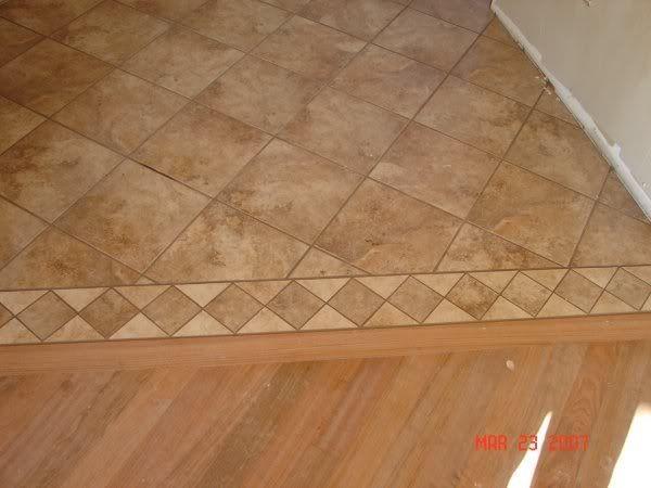 Tile and 3 4quot hardwood transition gap flooring for Wood tile transition