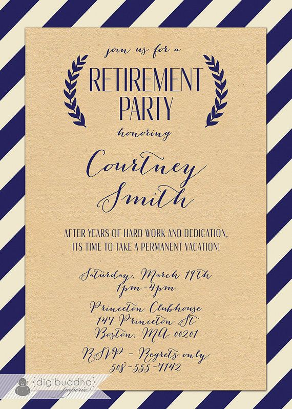 Kraft Retirement Party Invitation Whimsical By Digibuddhapaperie