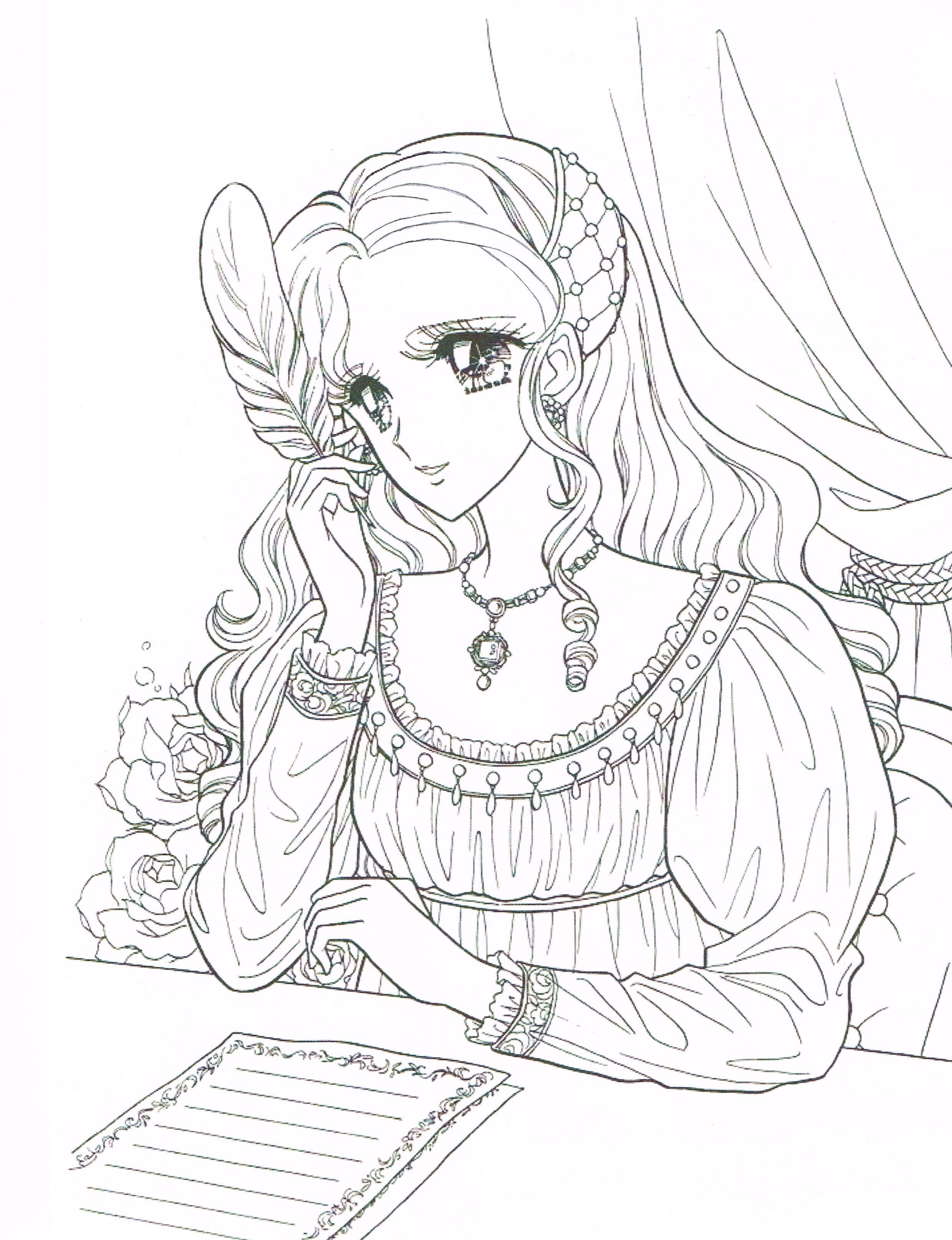 Princess World Coloring Page Italian Renaissance Manga Girl