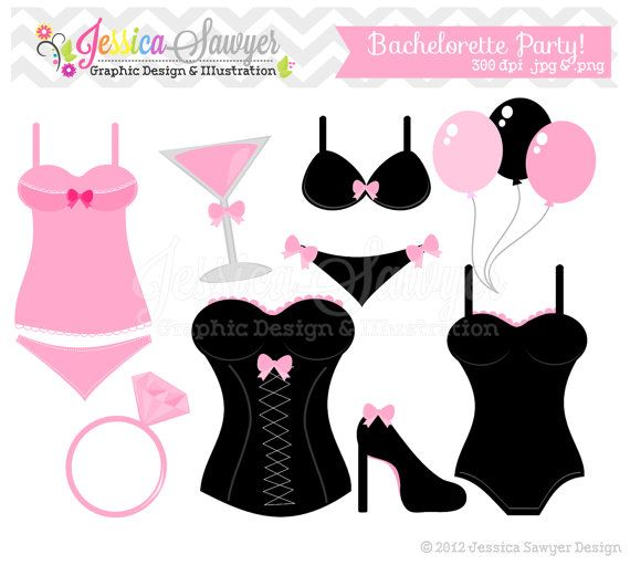 instant download bachelorette party clip art bridal shower clip art lingerie clip art commercial use card making