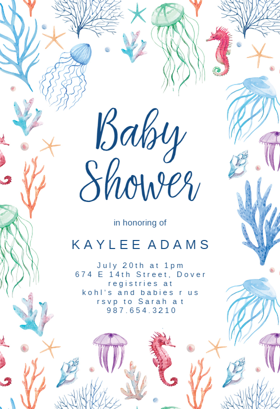 Under The Sea Baby Shower Invitation Template Free Greetings Island Sea Baby Shower Sea Baby Shower Theme Ocean Baby Shower Theme