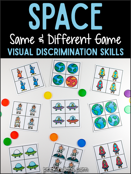 Space Same And Different Game Visual Discrimination Skills Prekinders Space Activities Preschool Space Theme Preschool Space Activities For Kids
