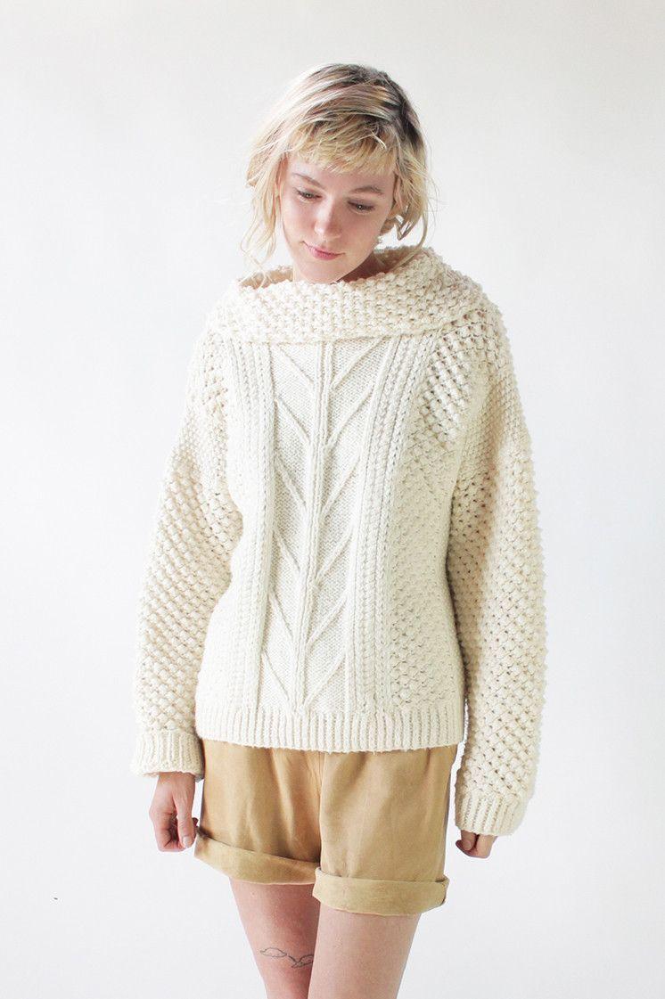 Vintage 70s Ivory Popcorn Knit Cowl Neck Fisherman Sweater | M ...