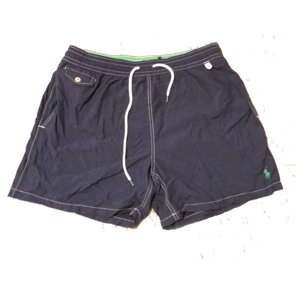 POLO Ralph Lauren Men\u0027s Size XL Swimming Shorts Navy Blue With Green