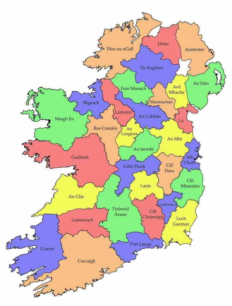 Ireland, with county names in Irish. | Ireland map ...