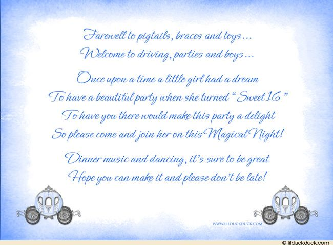 Sweet 16 Cinderella Carriage Invitations - Fairytale Blue Party - fresh formal invitation to judges