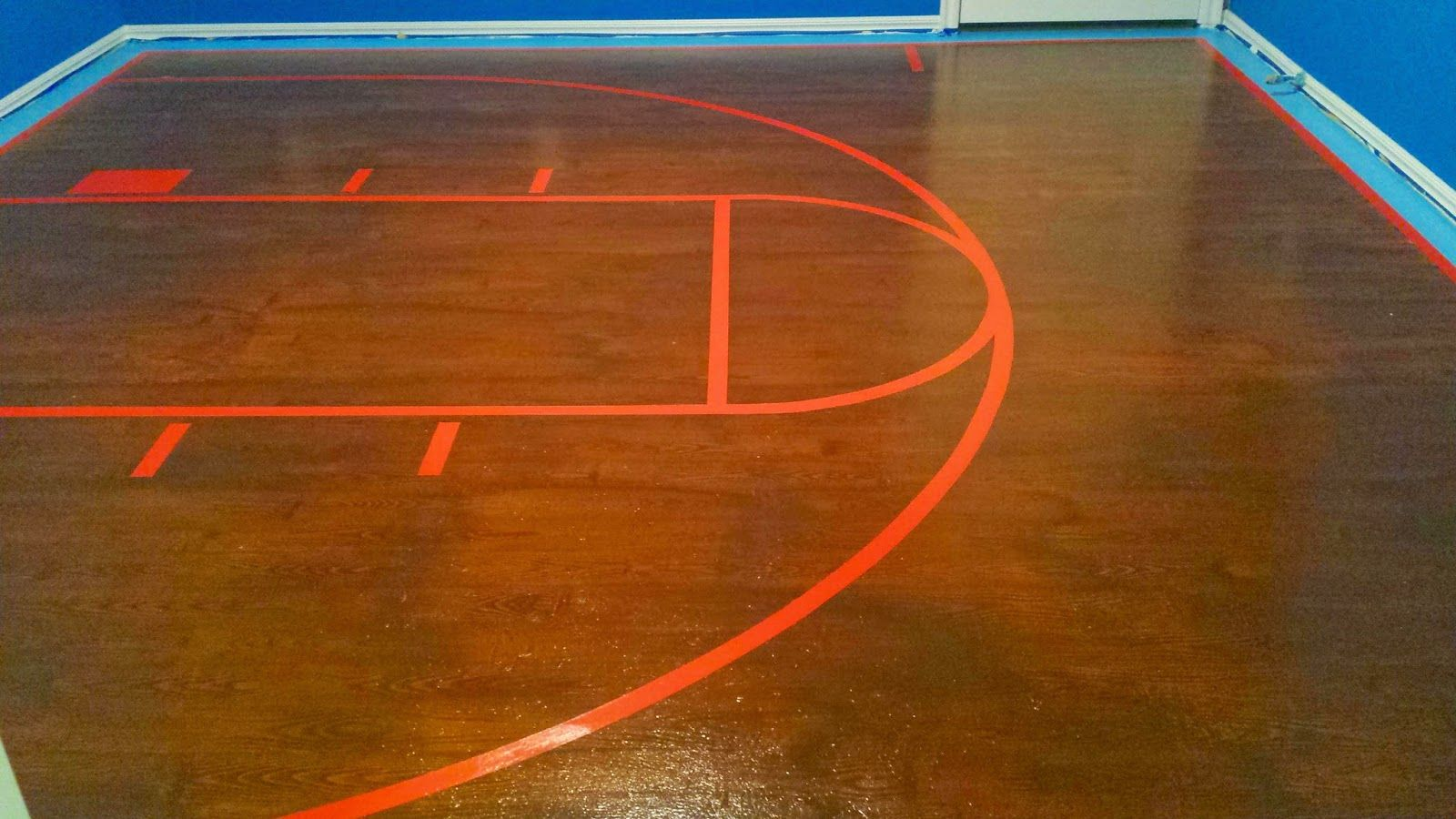 Painted Plywood Subfloor Beginning To End Painted Plywood Floors Basketball Court Painting Painted Plywood Floors Plywood Flooring Basketball Theme Room