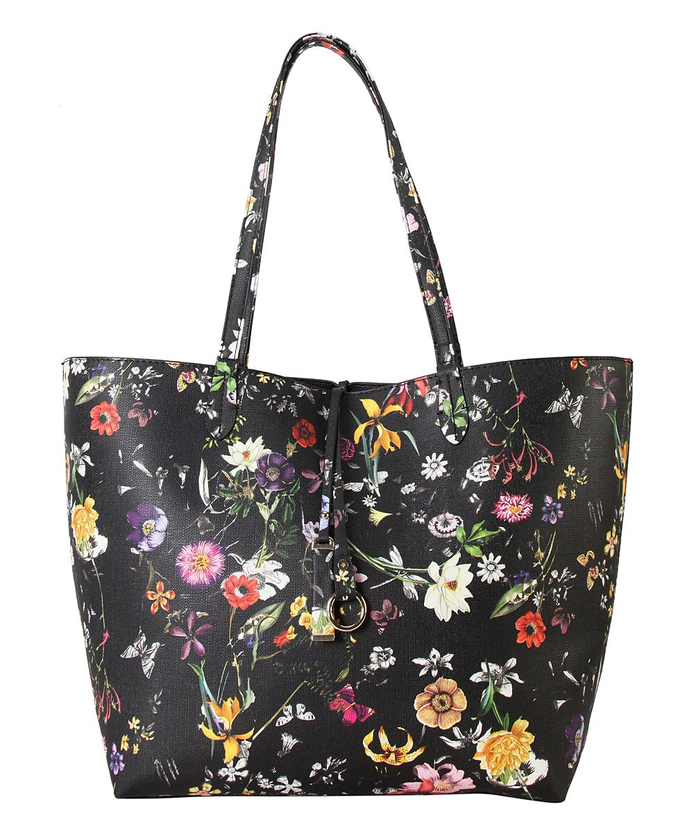 Beige Floral Tote & Pouch
