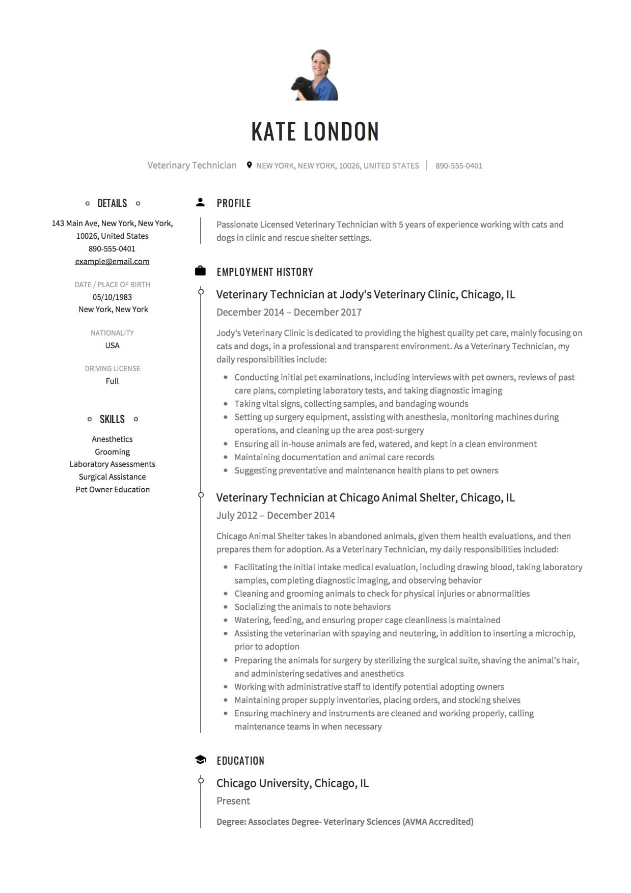 Veterinary Technician Resume Example Veterinary Technician Medical Resume Template Vet Tech Job Description