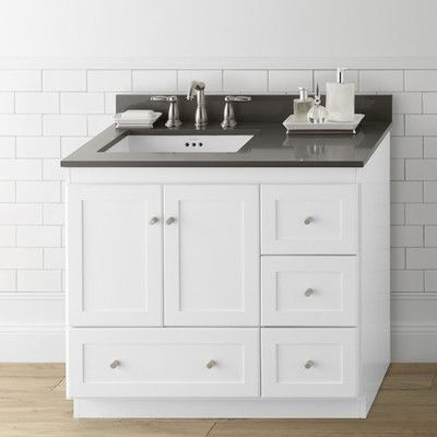 Ronbow Shaker 36 Bathroom Vanity Cabinet Base In White Wood