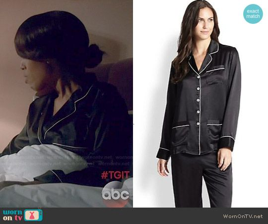 Olivia's black pajamas with white trim on Scandal. Outfit Details: http://wornontv.net/49055/ #Scandal