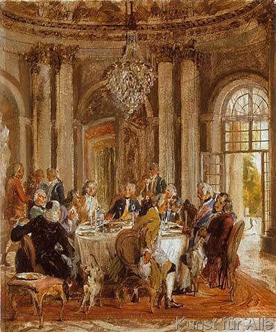 Adolph Friedrich Erdmann von Menzel - König Friedrichs II. Tafelrunde in Sanssouci