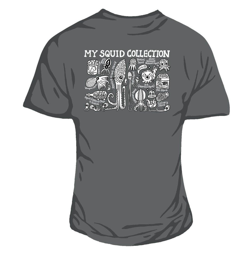 Squid Collection Women's Fitted Tee Charcoal.