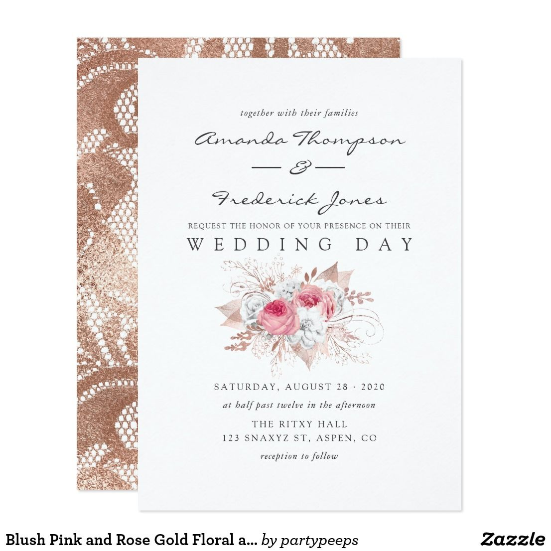 Blush Pink And Rose Gold Floral And Lace Wedding Invitation Zazzle Com Lace Wedding Invitations Typography Wedding Invitations Wedding Invitations