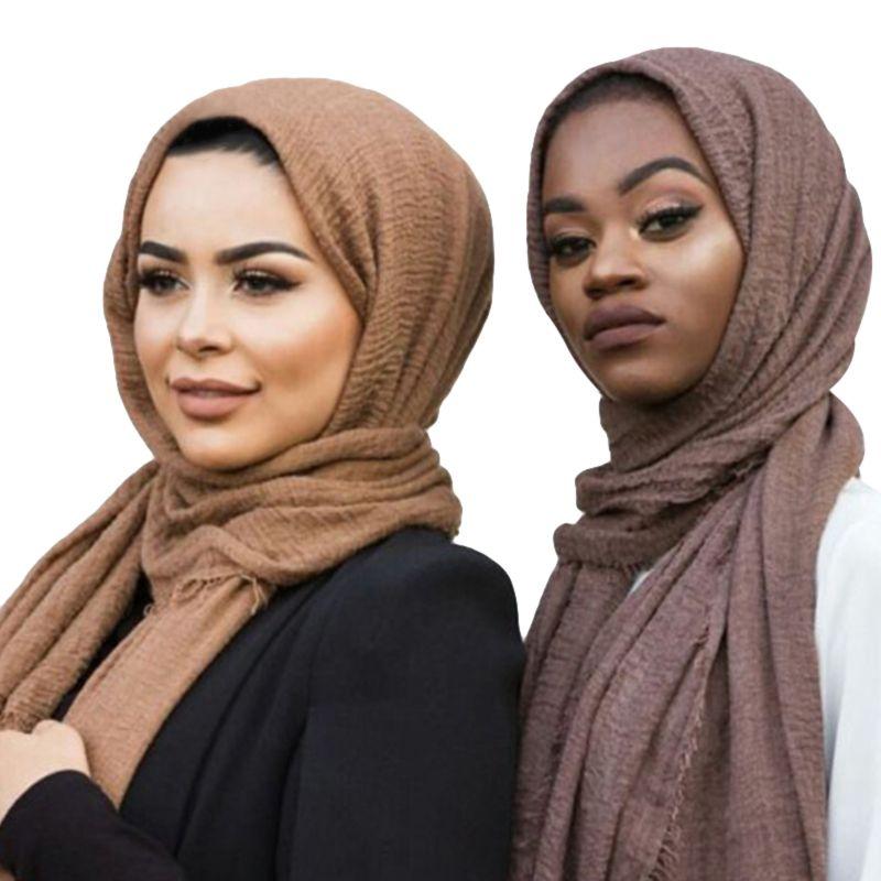 Women Chiffon Scarf Muffler Bubble Solid Muslim Hijab Head Scarves Wrap Shawl