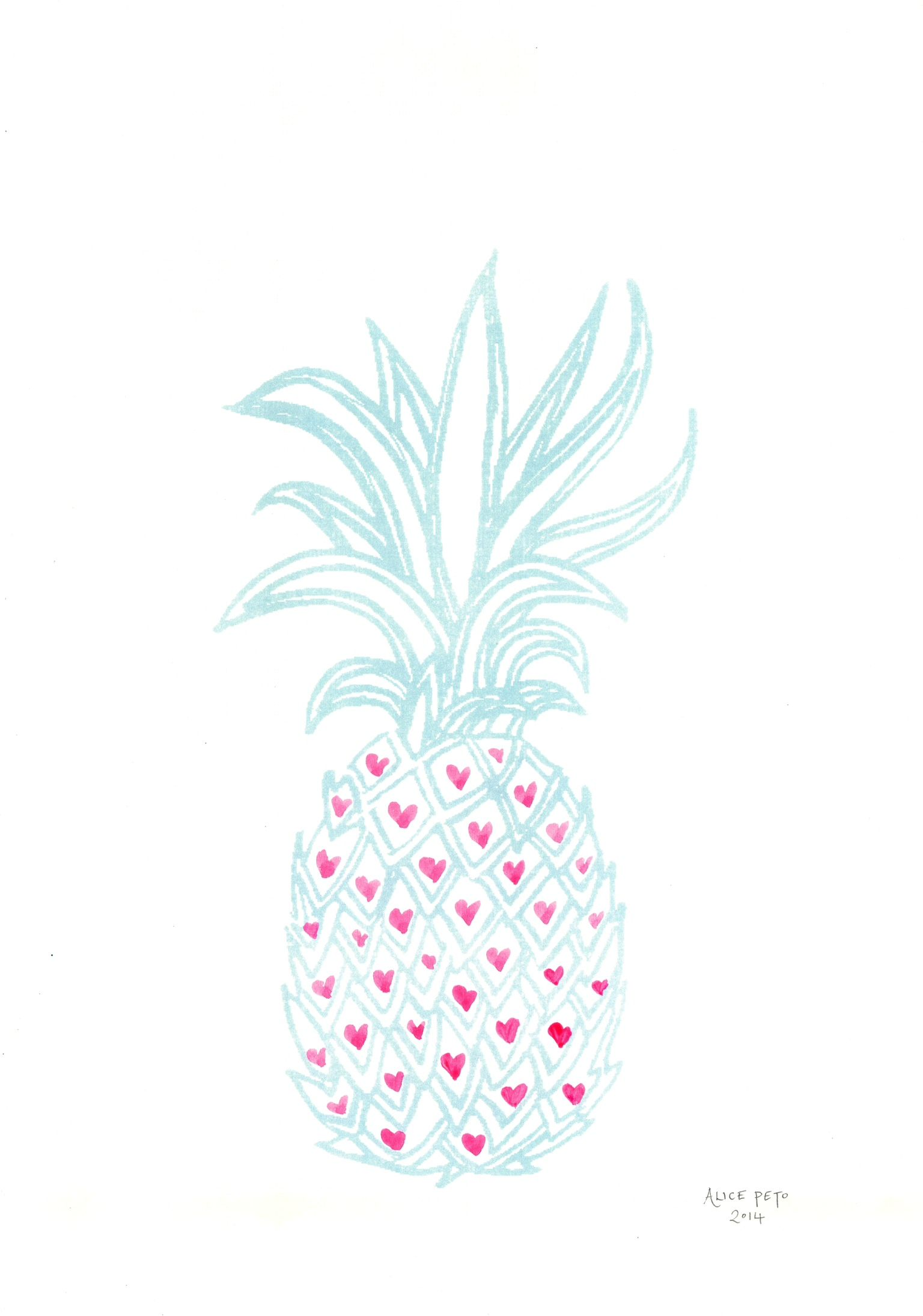 As I work from home I love surrounding myself with inspiring objects, like this pineapple print by Alice Peto.