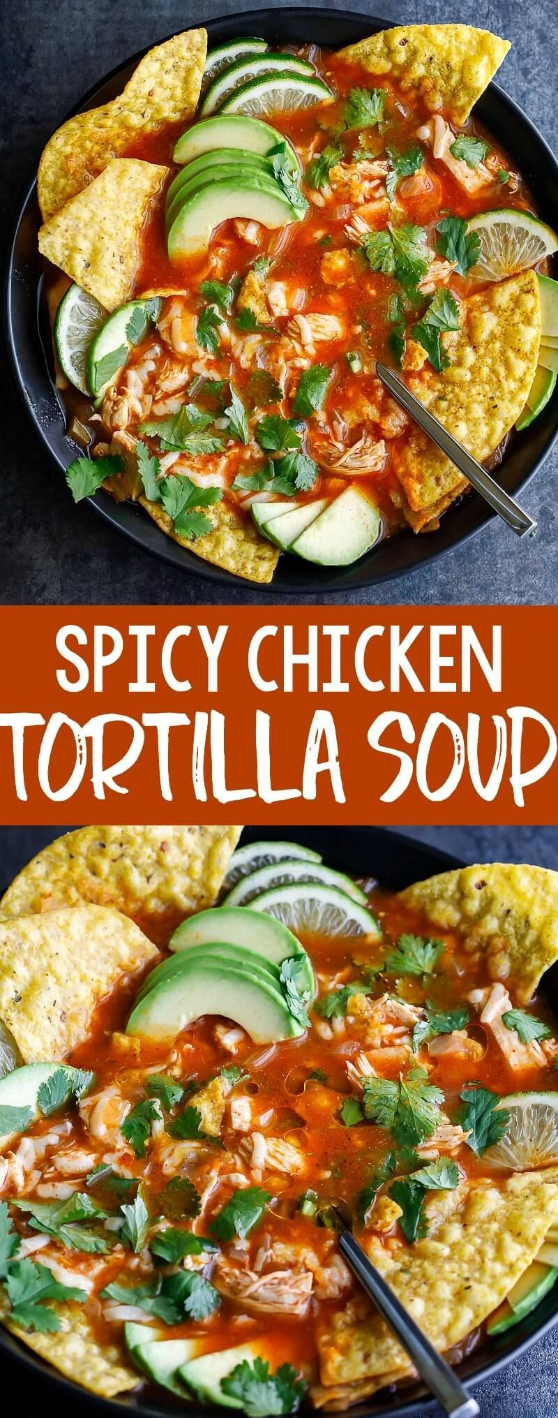 Spicy Chicken Tortilla Soup is fantastically flavorful and oh so easy to make!This tasty one-pot so