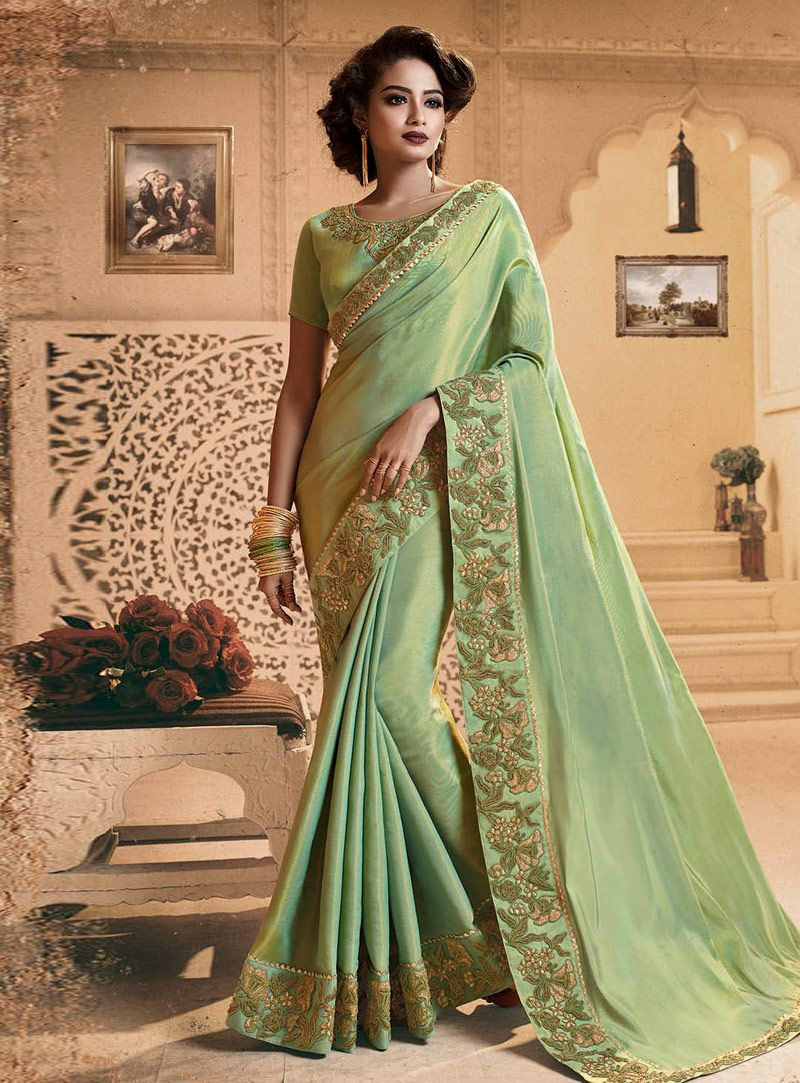 d4ade6e54ee0de Buy Green Silk Saree With Blouse 146021 with blouse online at lowest price  from vast collection of sarees at Indianclothstore.com.