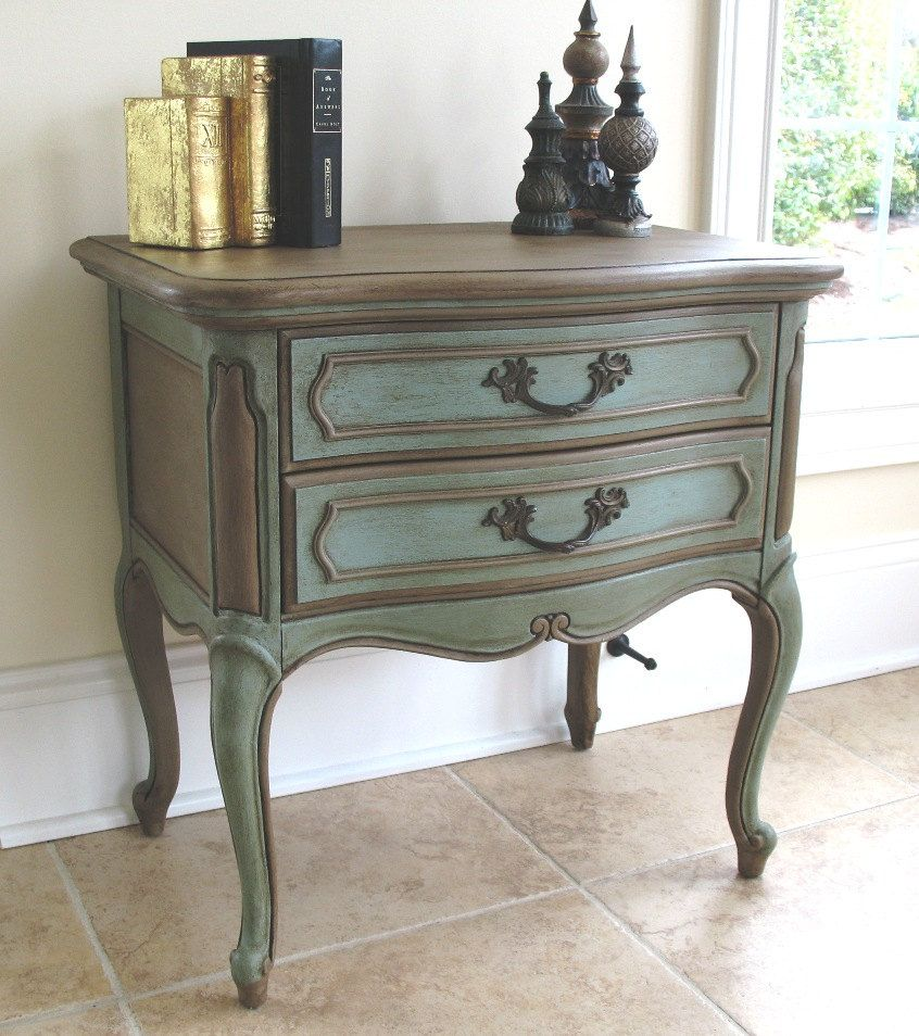 French provincial hand painted waxed lane furniture side - Painted french provincial bedroom furniture ...