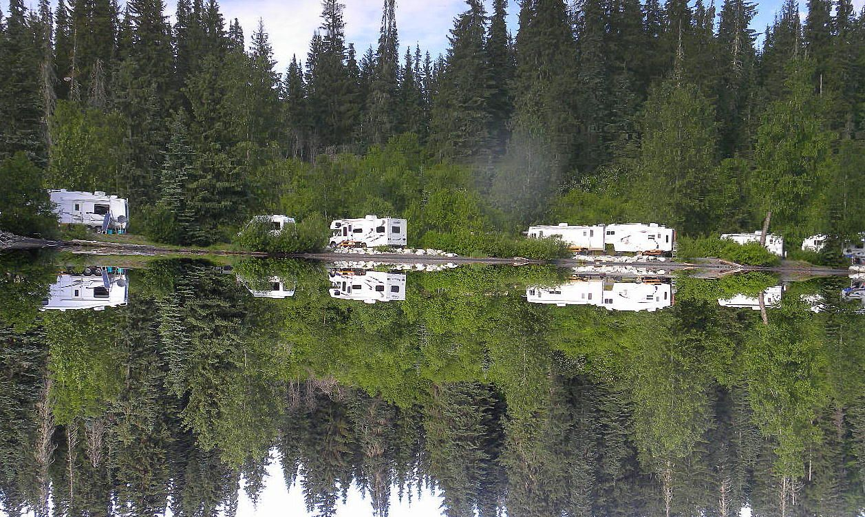 Meziadin Lake Provincial Park On Stewart Cassiar Highway Northern Bc Clear Green Waters Nestled Below The Mounta Alaska Camping Canadian Travel Camping Spots