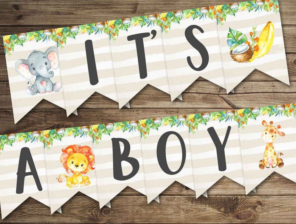 Banner It S A Boy Baby Shower Banner Printable Baby Etsy In 2021 Jungle Baby Shower Decorations Baby Shower Banner Boy Safari Baby Shower Decorations