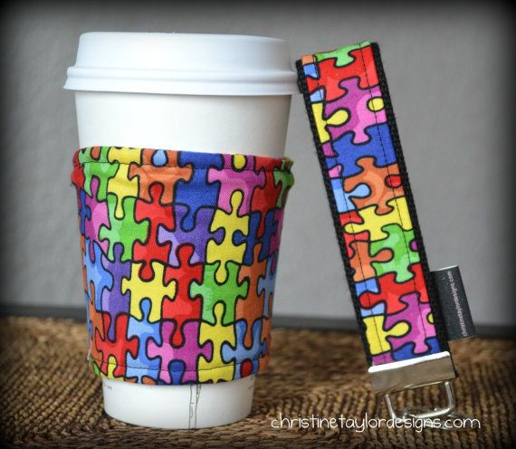 Large Key Fob and Coffee cozy  Autism Awareness by ctaylordesigns, $20.00
