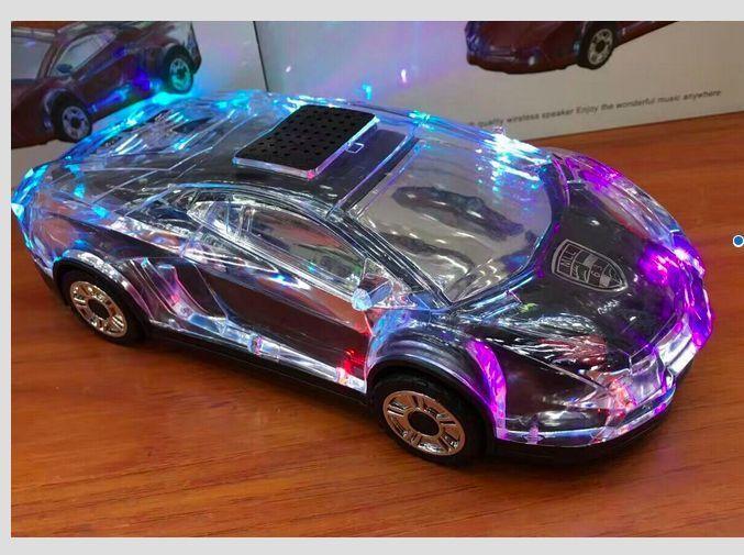 Car Design Bluetooth Speaker And Fm Radio With Multi Color Led Lights Black Multi Color Led Fm Radio Led Lights