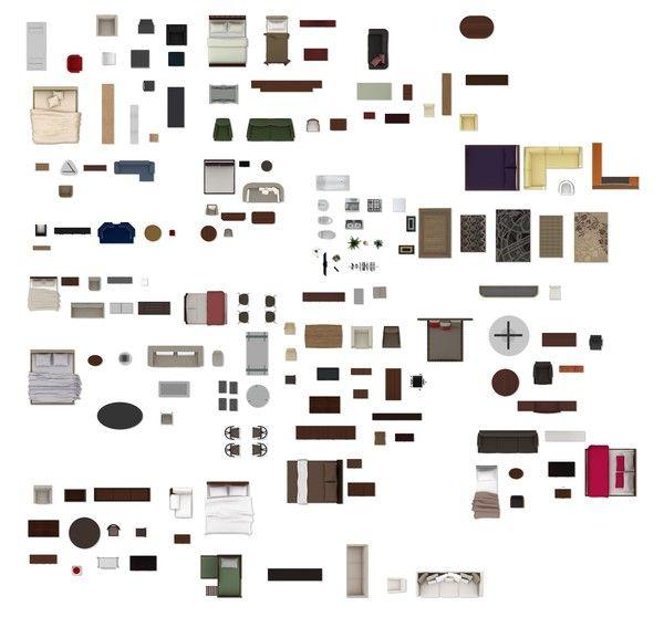 Texture Psd 2d Furniture Floorplan Sketchup Renders