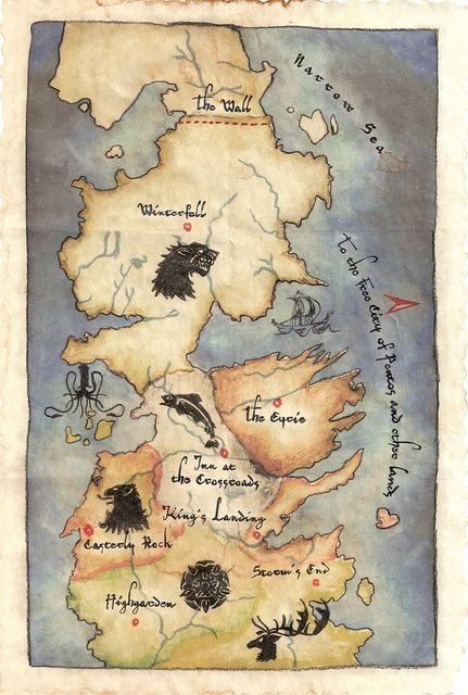 Map Of Westros And The Seven Kingdoms Game Of Thrones