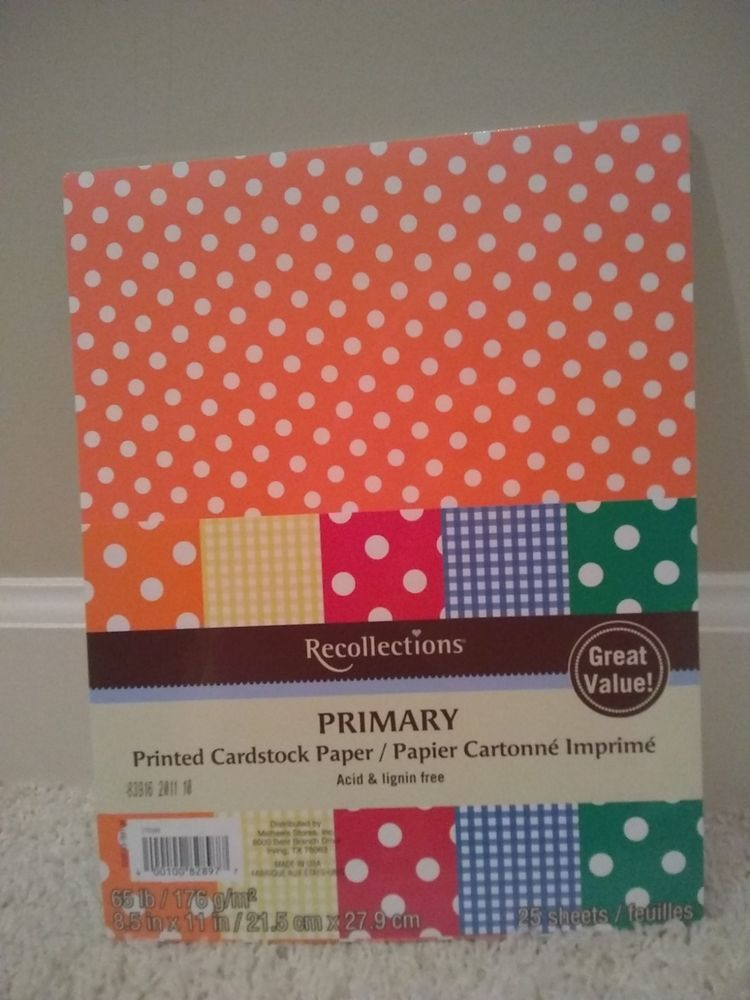 New Recollections Primary Printed Cardstock Paper 8 5 X 11 25 Sheets Sealed Recollections Cardstock Paper Recollections Card Stock