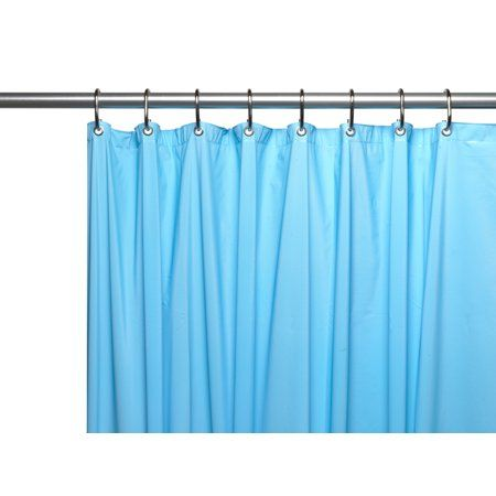 3 Gauge Vinyl Shower Curtain Liner W/ Weighted Magnets And Metal Grommets  In Sage, Green