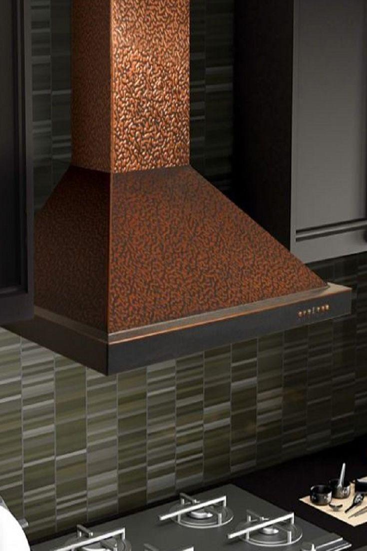 The Zline 8kbe Designer Wall Mount Copper Range Hood Looks Great With Black Kitchen Cabinets It Has A 7 Layer Embossed Cop Copper Range Hood Range Hood Design