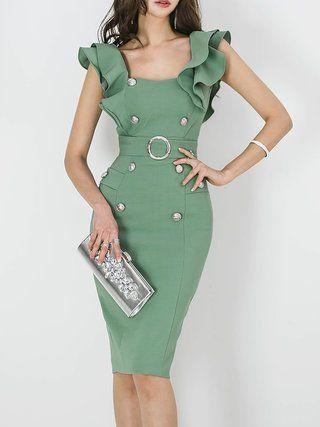 Midi Dress Daytime Sleeveless Vintage Dress 1