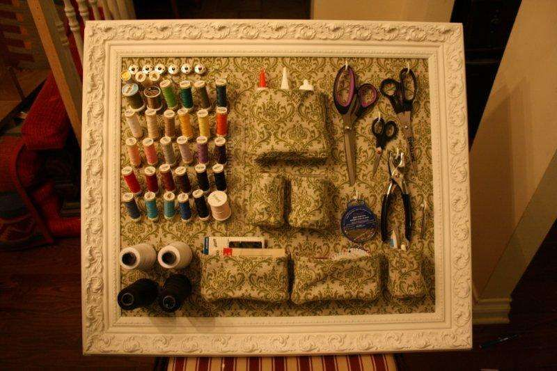 DIY wall mounted sewing organizer. this would also be neat for craft supplies: glue, scissors, utility knife...
