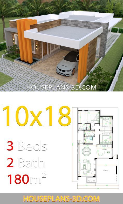 House Design 10x18 With 3 Bedrooms Terrace Roof House Plans 3d House Plans Small House Design Plans Minimalist House Design