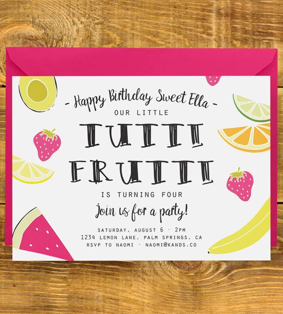 Tutti Frutti Birthday Invitation Fruit Party, Summer Birthday - fresh birthday invitation jokes